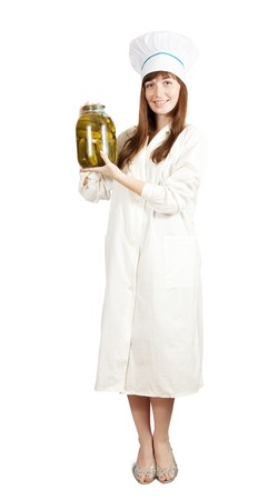 teary: Young cook girl  holding  tin of pickled  cucumbers.  isolated over white Stock Photo