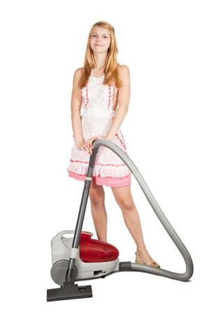 gir: Gir with vacuum cleaner. Isolated over white background