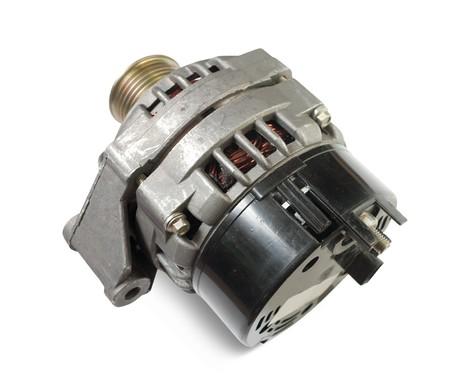 alternator: automotive alternator. Isolated on white Stock Photo