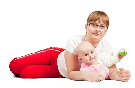 young happy beautiful mother with her little baby against white background photo