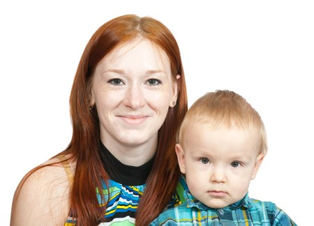 Happy mother with her son. Isolated over white Stock Photo - 7254094