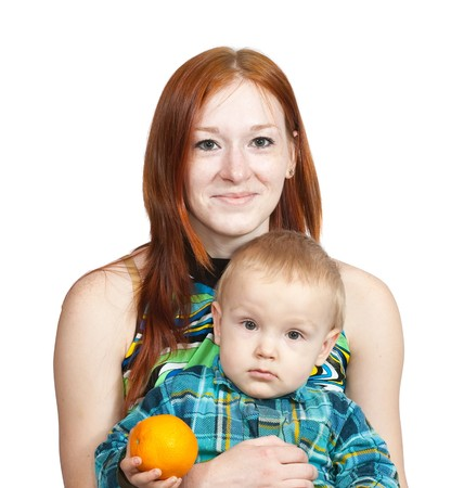 mother with her son. Isolated over white Stock Photo - 7254087