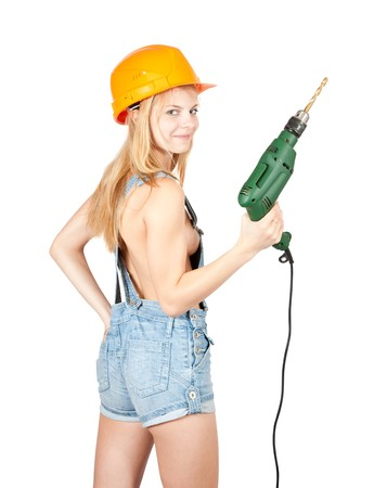 Sexy girl with drill over white  background photo