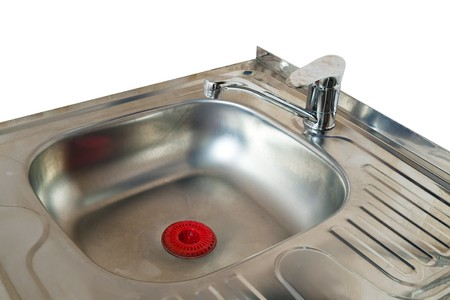 stainless steel sink: New  kitchen sink. Isolated over white backgriund