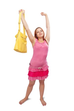 carroty: carroty girl in pink dress witg yellow handbag