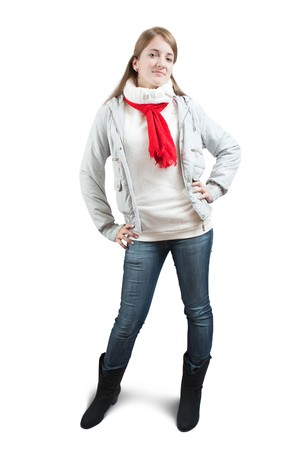 Isolated full length view of girl  in wintry clothes over white photo