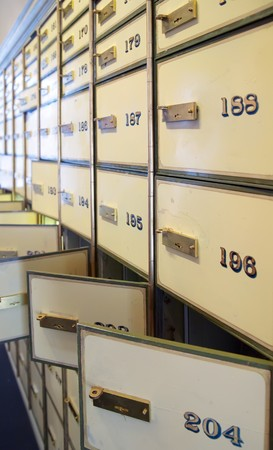 lockbox:  vintage safe deposit boxes. Locked and opened