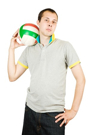 sporty man posing with ball. Isolated over white photo