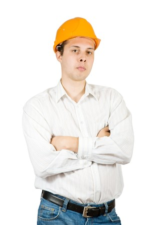 tasker: male construction worker in hard hat, isolated against white background.