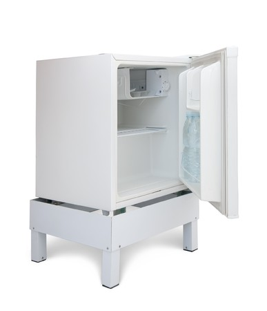icebox: White refrigerator. Isolated over white Stock Photo