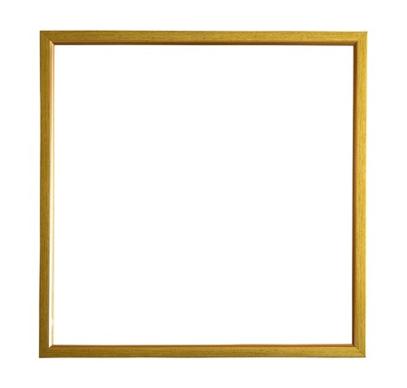 Modern thin gold picture frame, isolated with clipping path Stock Photo - 7363398