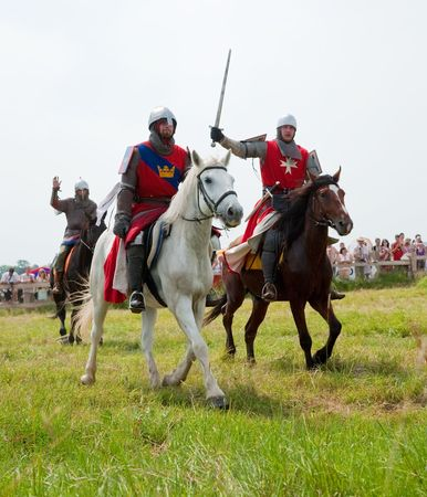 traditional weapon: SUZDAL, RUSSIA - JULY 10: knight festival  Editorial