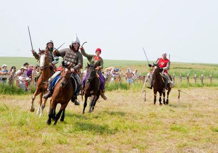 historical battle: SUZDAL, RUSSIA - JULY 10: knight festival  Editorial