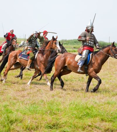 knight horse: SUZDAL, RUSSIA - JULY 10: knight festival  Editorial