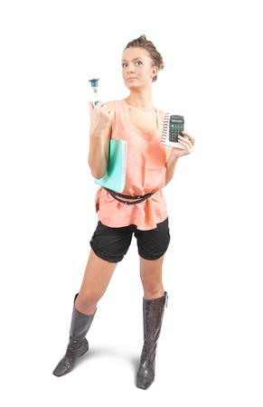 Young businesswoman with calculator and sand glass photo