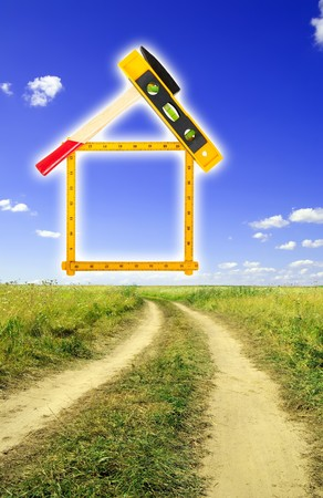 house concept build with tools over summer landscape Stock Photo - 7449714
