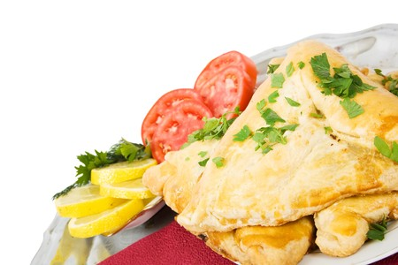 pasty: Tartarian meat pasty. Isolated over white backgrouund Stock Photo