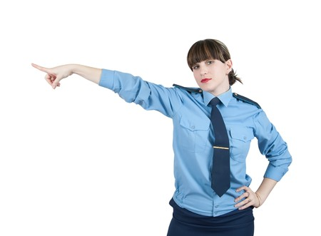 pointing woman in uniform, isolated over white Stock Photo - 7484346