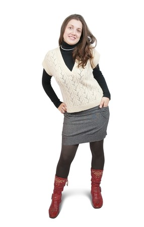 shot of girl in  sweater and high shoes.  photo