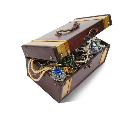 valuables: wooden treasure chest with valuables and gem Stock Photo