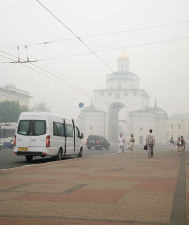 VLADIMIR, RUSSIA - AUGUST 3: Cities of central Russia in smoke during forest wildfire, August 3, 2010 in Vladimir, Russia.