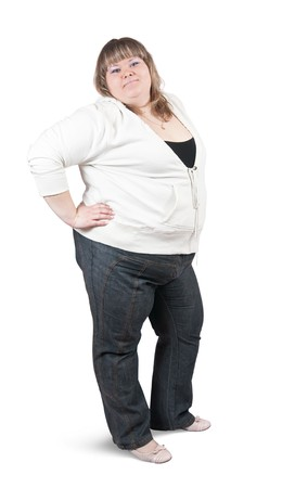 tubby: Isolated full length studio shot of a casually dressed large woman