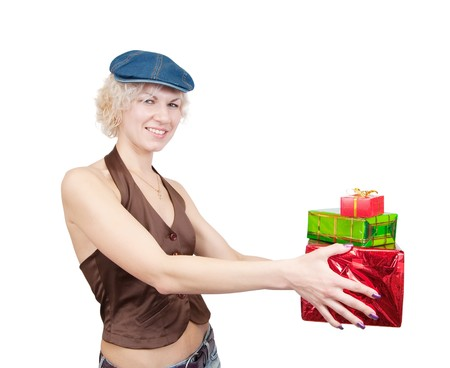 teener: a nice girl holding coloured festive boxes