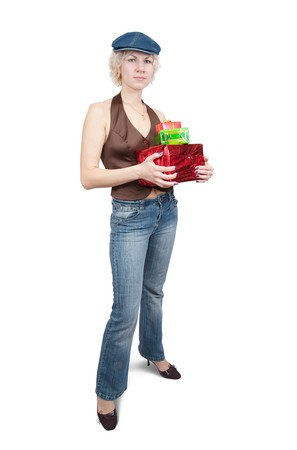 teener: picture of happy girl with gifts, isolated over white