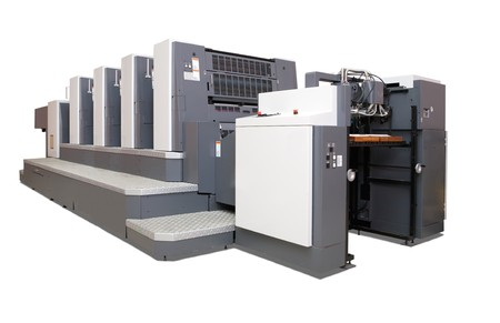 ofset: four-section offset printed machine. Isolated over white with clipping path Stock Photo