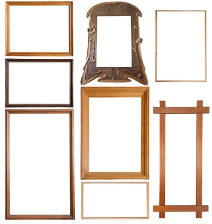 simple frame: Set of 9 wooden picture frames Stock Photo
