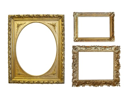 Set of  Vintage gold picture frame Stock Photo - 7532160