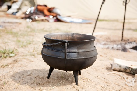 knight kettle placed in camp during historical festival photo