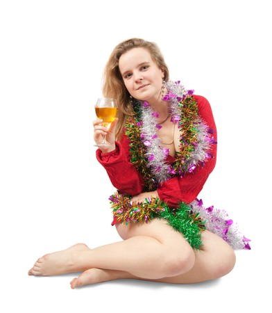 New Year's Eve party girl toasting the new year with wineglass Stock Photo - 7557448