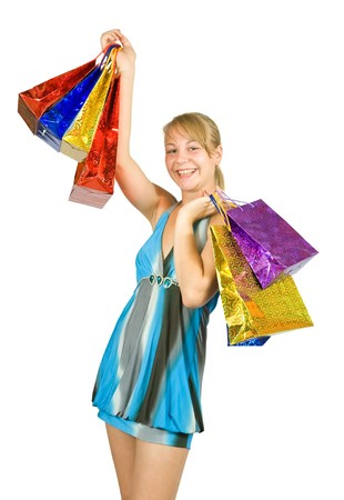 lovely girl with shopping bags over white Stock Photo - 7582407
