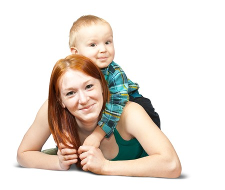 Happy mother with her son. Isolated over white Stock Photo