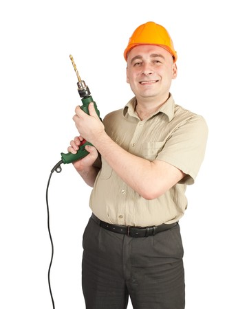 tasker: Man in  hard hat with drill over white background