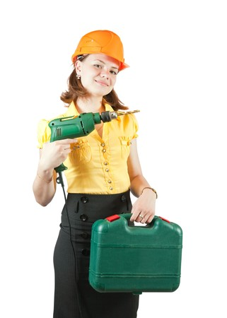 beauty girl in hard hat with tool box  and drill over white Stock Photo - 7644515