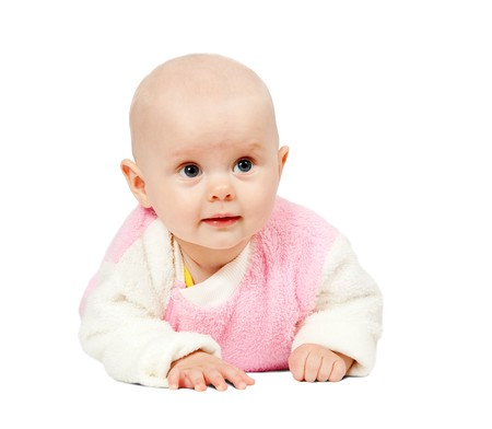 adorable little baby, isolated on white background
