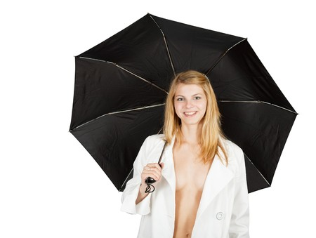 Sexy girl in cloak with umbrella. Isolated over white photo