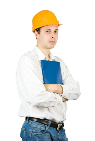 tasker: businessman in hard hat with documents  on white background  Stock Photo