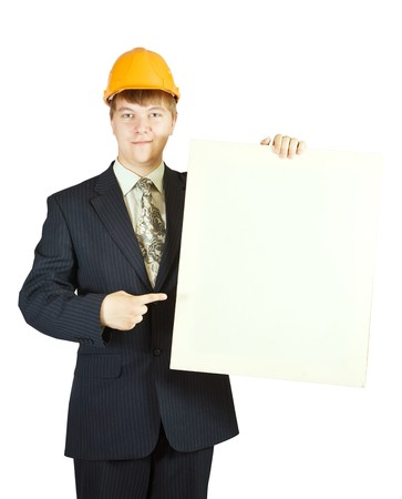 businessman in hardhat holding banner, isolated on white  photo