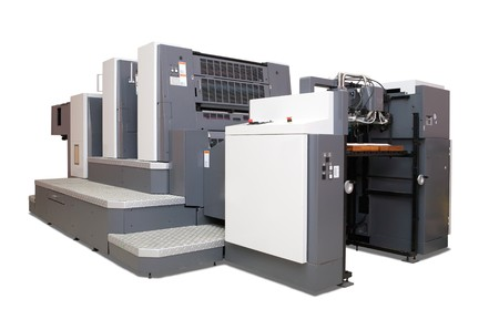 offsetdruck:  zwei-Abschnitt Offset gedruckt Maschine.  Lizenzfreie Bilder