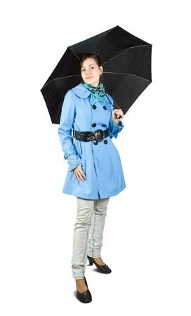 Beautiful young woman wearing blue coat   holding black umbrella, isolated on white background. Stock Photo - 7776736