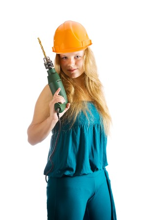 beauty girl in hard hat with drill. Isolated over white Stock Photo - 7776824