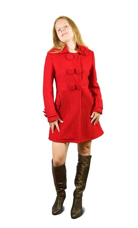 topcoat: Woman in red coat and brown high shoes