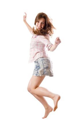 casually dressed:  casually dressed  happy girl. Isolated over white