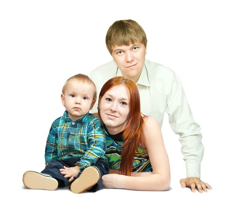 Portrait of happy family of three  over white background photo