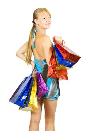 Beautiful girl with shopping bags.  photo
