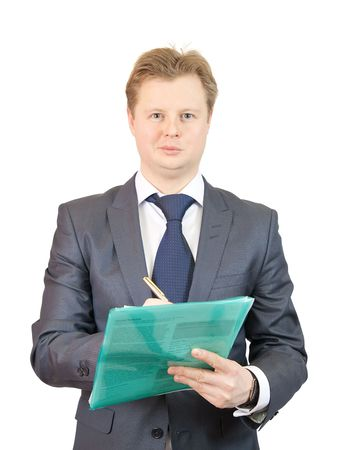 businessman  with paper folder, isolated against a white background.  photo