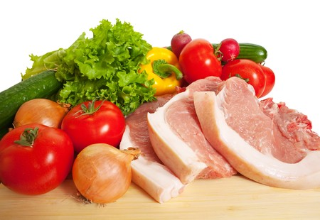 Raw beef and vegetables. Isolated over white Stock Photo - 7881539